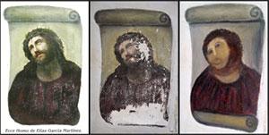 Три стадии фрески «Се человек»: исходное изображение, изображение перед реставрацией, финальный «картофельный» вариант
