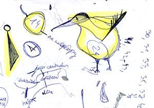 [Фотография] Листочек бумаги, исписанный вдоль ипоперёк, накотором также случайно нарисовалось нечто, похожее наптицу киви